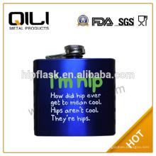Hot Verkauf FDA Edelstahl blau Spray piant Flachmann mit Siebdruck-Logo die besten Geschenke für Mann