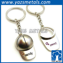 silver hat keychain for love couple