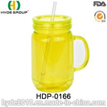 16oz Customized BPA Free Plastic Beer Mug with Handle (HDP-0166)