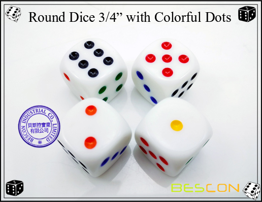 Round Dice 19MM with Colorful Dots-3
