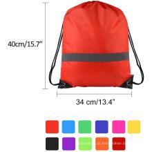 Bolsa de mochila com cordão e fita reflexiva
