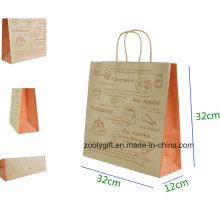 Saco de presente de papel kraft eco-friendly com torcido punho bolo saco de transporte de embalagem