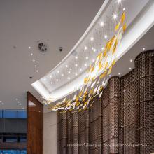 Araña de hotel de cristal blanco largo de nuevo diseño personalizado
