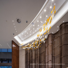 Custom новый дизайн длинные белые стеклянные люстры отеля
