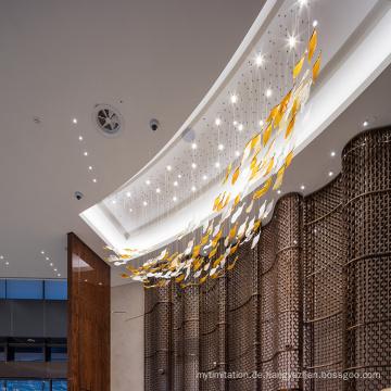 Kundenspezifischer neuer Design-langer weißer Glas-Hotel-Kronleuchter