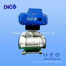 Aço inoxidável 3 peças Butt válvula de esfera de solda com atuador elétrico (Q961F)