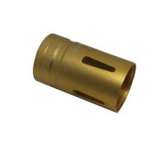 china precision Surface yellow oxidation cnc machining aluminum spare parts LED flashlight housing