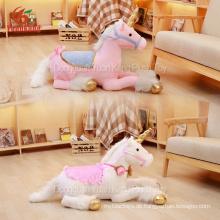 Kundenspezifisches riesiges großes Plüsch-weißes Einhorn füllte Spielzeug-Material-großes rotes rosa Einhorn-weiches Spielzeug an