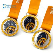 Unique design custom logo spinner sport medallion metal 3D hollow out enamel sports custom spinning medal for souvenir