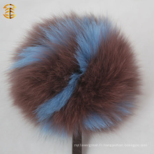 26 Lettres Real Fox Fur Ball Pompom Porte-clés Porte-monnaie