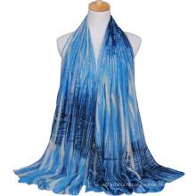 Prix de gros camouflage à la mode couleur rayure imprimé écharpe châle de voile