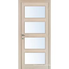 Puerta de cristal de 4 paneles, puertas interiores de madera sólida que se pegan