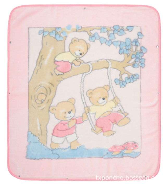 Pink cartoon patterns baby blanket