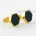 18k Gold Earrings, Moss Agate Gemstone Earrings Jewelry For Women