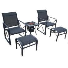 Outdoor with firebox furniture 5pc sling chat set
