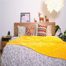 Long Plush Coral Fleece Jacquard Bed Throws Blankets