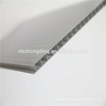 Feuille creuse en polycarbonate à double paroi de 6 mm / feuille de soleil en polycarbonate gris