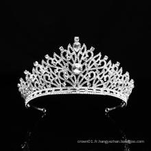 Couronne de mariage indien en argent Noble strass cristal princesse reine mariée ballet diadème pour les femmes