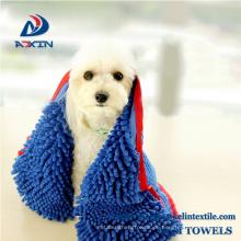 Super saugfähiges Hundebadetuch mit Tasche Microfiber Chenille Pet Handtuch groß