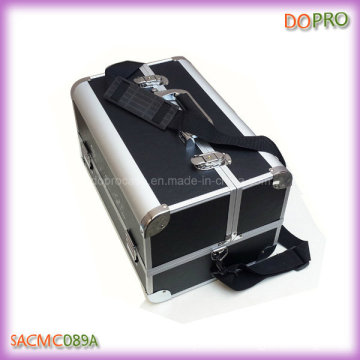 Gran negro mate piel de cuero de viaje de maquillaje caso de aluminio (saccom089a)