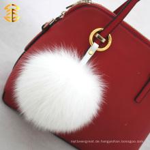 Fabrik Großhandel 13cm Fox Pelz Ball Schlüsselkette Pelz Pom Pom für Taschen