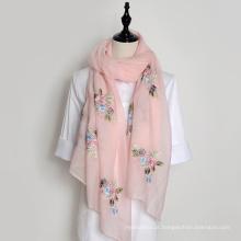 Wholesale hangzhou bordado lenço de seda das senhoras lenço de pescoço