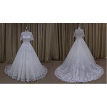 Vestido de boda lleno del cordón de la manga cuarta al por mayor 2016 nueva llegada