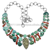 Turquoise Coral & Pyrite Gemstone avec 925 Sterling Silver Handmade Necklace