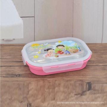 Bunter rechteckiger Edelstahlbehälter mit 5 Fächern für Kinder