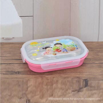colorful 5 compartment rectangular stainless steel kids food container