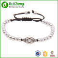 Micro Pave CZ Round Beads Macrame Bracelet Evil Eye Charm Braided Weaving Bracelets