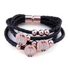 Black leather magnet bracelet