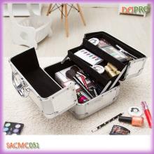 Cute Cosmetic Case Silver Small Makeup Train Case (SACMC051)