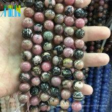 Großhandel 6mm Natürliche Schwarze Linie Rhodonit Lose Edelsteine Steine Schmuck Natursteine Perlen