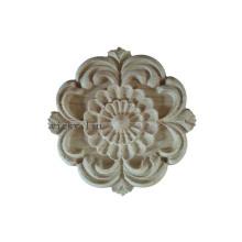 Круглый мебельный декор, резьба по дереву, цветы, деревянные накладки