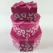 Custom Printing Ribbon Hexagonal Heart-Shaped Rectangle Mixed Paper Gift Boxes Set