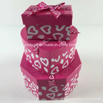 Impression personnalisée Ruban en forme de coeur en hexagonal Ensemble de boîtes à cadeaux en papier mixte rectangulaire