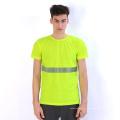 T-shirt respirant fluorescent jaune respirant avec bande réfléchissante