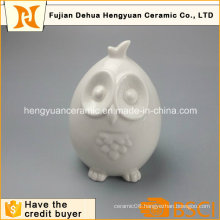 Home Decoration White Glazed Cartoon Owl