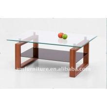 mesa de centro de vidro temperado com MDF E004