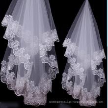 Borda branca / do marfim do laço 1.5 medidores de véus longos do casamento