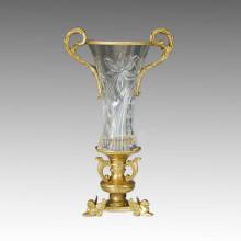 Статуя хрустальной вазы Двойные львы Бронзовая скульптура Tpgp-015