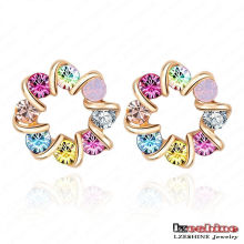 18k Rose Gold Plate Flower Stud Earrings (ER0080-C)
