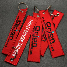 Happy Red Saft Embroidered Design Keychain for Promotional Gift