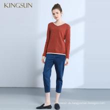 Winter Oversize Cashmere Wolle Frau stricken Pullover Pullover V-Ausschnitt Kragen