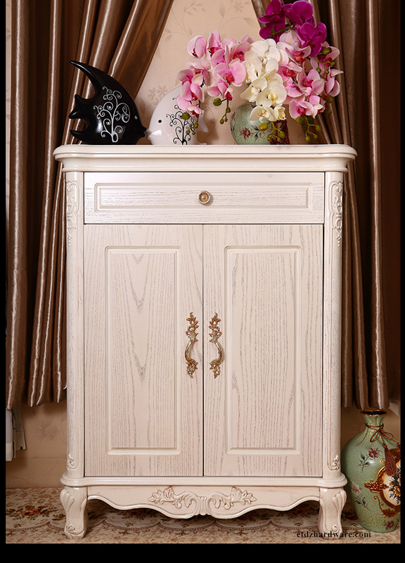 Flower Design Wardrobe Handle And Knob