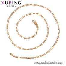 44313 xuping GZ moda mercado de jóias colar de corrente simples em 18k chapeamento fornecendo amostra grátis