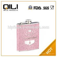 6 унций розового цвета блеск кожи из нержавеющей стали металла фляга с логотипом