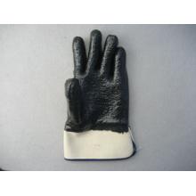 Schwarze Neopren-Sicherheits-Cuff-Handschuhe mit Terry-Tuch-Liner (5345)