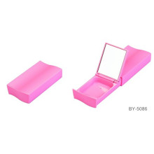 Smooth Square Pink Compact Powder Container With Mirror